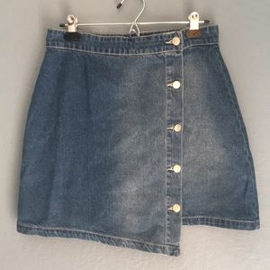 MINKPINK Asymmetrical Denim Button Skirt